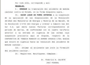 El viernes pasado se conoció la sentencia del juez federal de Ushuaia Federico Calvete, tras el amparo presentado por la Cooperativa Renacer, que sentó precedente en la provincia de Tierra del Fuego.