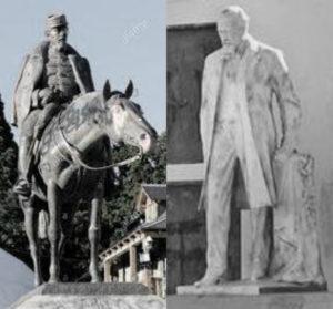 A través de dos esculturas tal vez pueda uno asomarse a una diferencia histórica constitutiva entre el norte y el sur de la Patagonia.