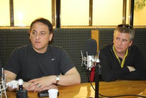 El ministro de Educación Diego Romero, junto al paritario Hugo Schneider.