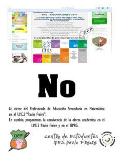 Desde el Centro de Estudiantes del IPES Paulo Freire, reclamaron por el cierre del profesorado de matemática.