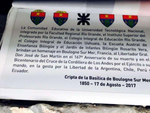 La comunidad educativa de la UTN rindió en Francia un nuevo homenaje al Libertador General San Martín en el 167° aniversario de su muerte y a 200 años del cruce de los Andes.