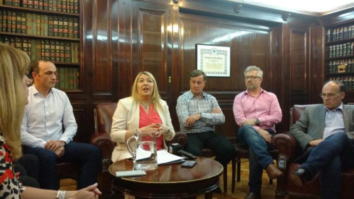 La gobernadora de Tierra del Fuego durante la conferencia de prensa pos encuentro con el Presidente Macri junto a los senadores Julio Catalán Magni, José Ojeda, el ministro de Industria Ramiro Caballero, y el legislador Pablo Blanco.