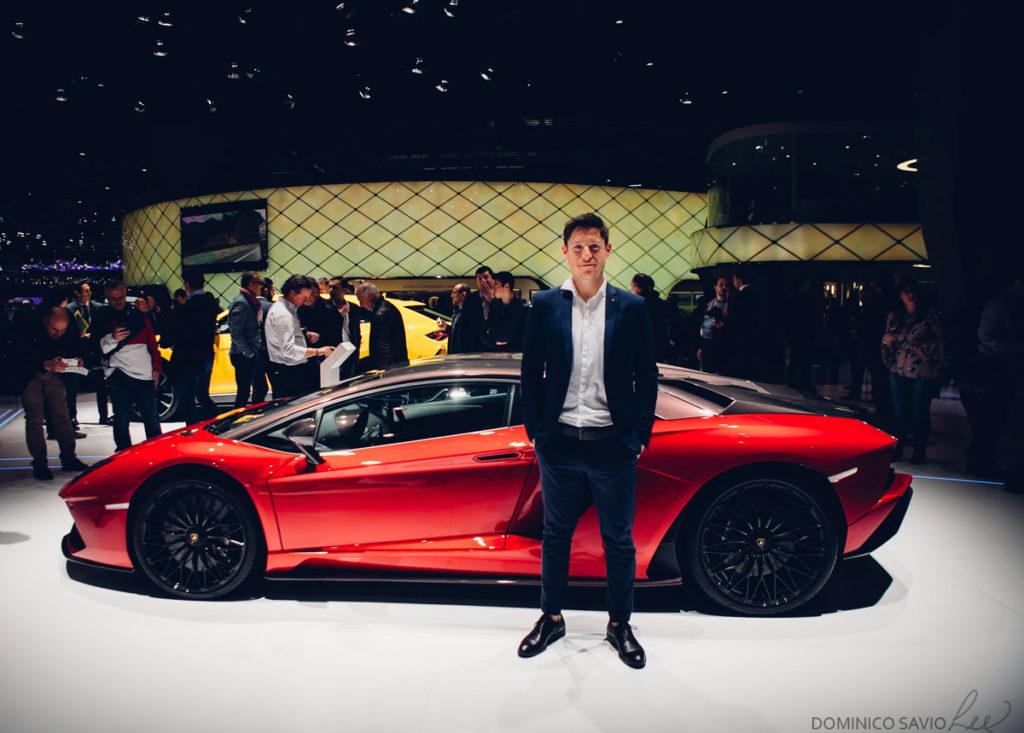 Facundo Elías en Ginebra 2018: stand de Lamborghini (AutoBlog).