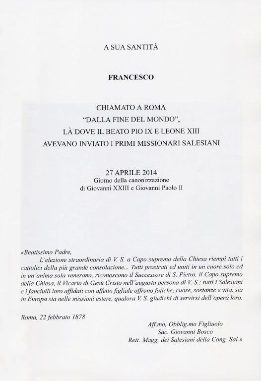 Carta dedicada al Papa Francisco.