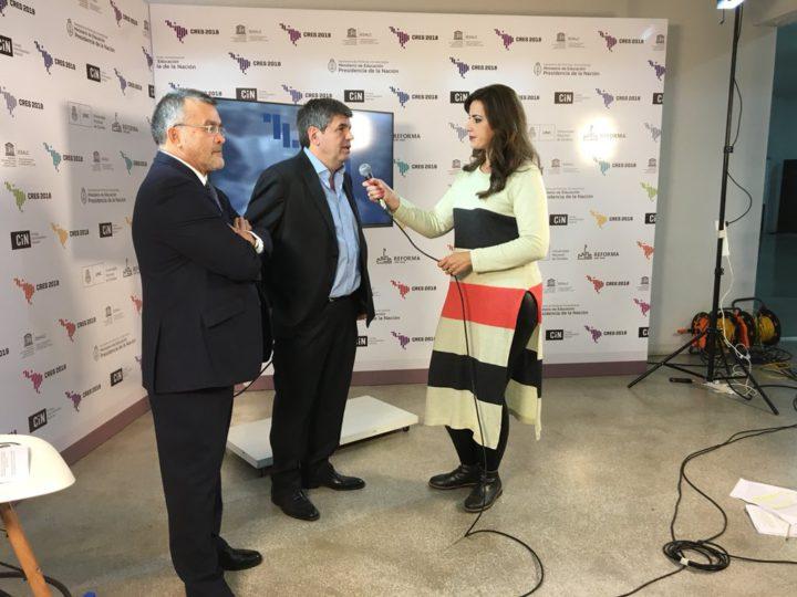 Francisco Tamarit, coordinador general de la #CRES2018, y Pedro Henríquez Guajardo, director del Instituto Internacional de la Unesco para la Educación Superior en América Latina y el Caribe, dan la bienvenida a esta Tercera Conferencia Regional.