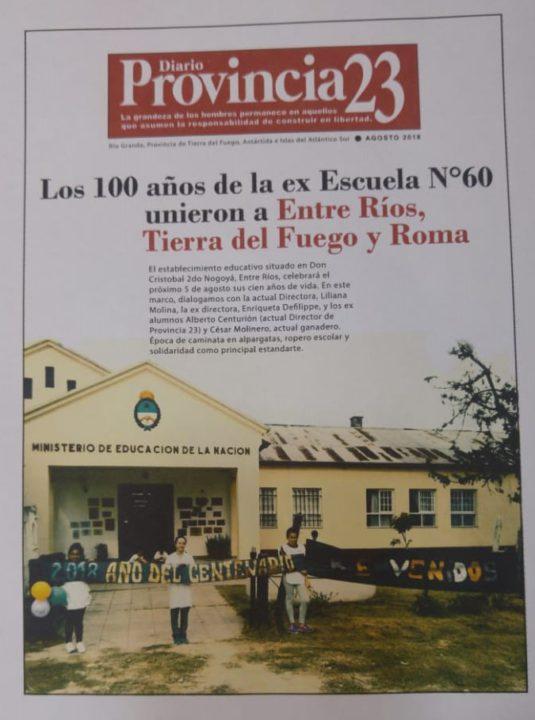 Los 100 años de la ex Escuela N°60 unieron a Entre Ríos, Tierra del Fuego y Roma.